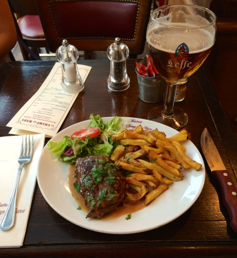 Steak, fries, and a small salad at the Champ de Mars restaurant. The Leffe beer complimented the food nicely.